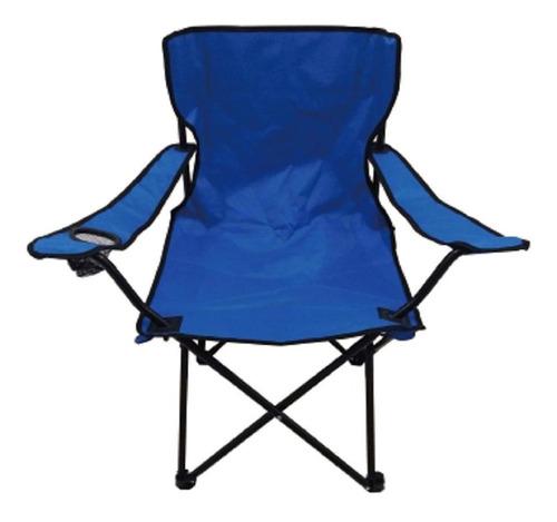 Cadeira Dobravel Camping Pesca Praia Azul Com Porta Copo