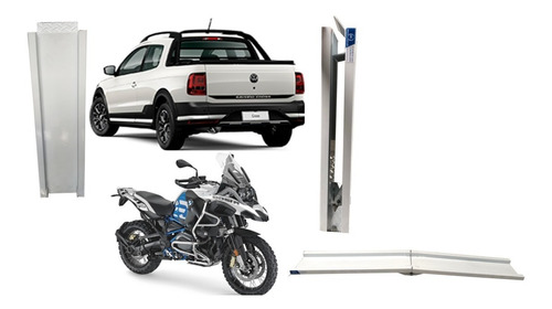 Rampa Para Subir Moto Caçamba Branca Cab. Simples Dobrável