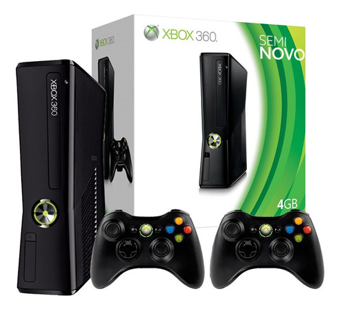 Microsoft Xbox 360 Slim Com 02 Controles - Na Caixa