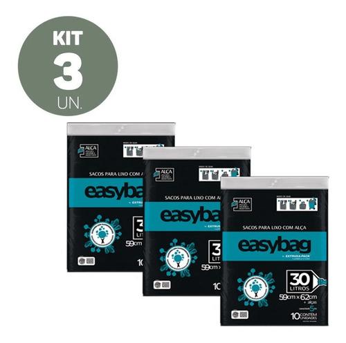 3 Kit Sacos Para Lixo C/ Alças 30 Litros Reforçado Lixeira