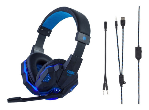 Fone Headset Gamer P2 C/led Azul Usb + Adaptador Y P3 Ps4/pc