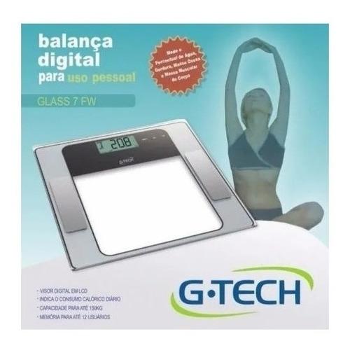 Balança Corporal Digital G-tech Glass 7 Fw Transparente