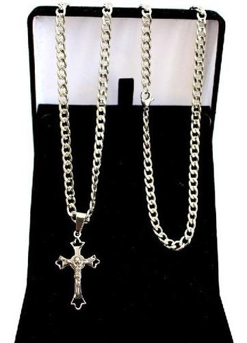 Corrente Cordão Masculino Grumet Escama Pingente Crucifixo