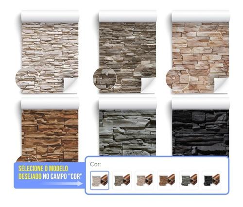 Papel De Parede Adesivo Pedra Canjiquinha + Cores 10 Metros