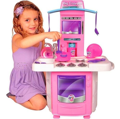 Cozinha Infantil Rosa Completa Com Pia Fogão Forno Sai Água