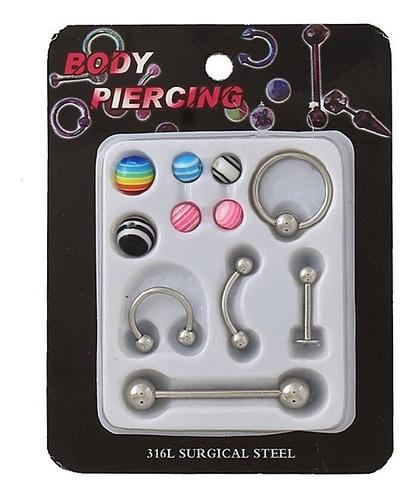 Kit Cartela 5 Piercing Aço Orelha Septo Língua C/ 6 Bolinhas