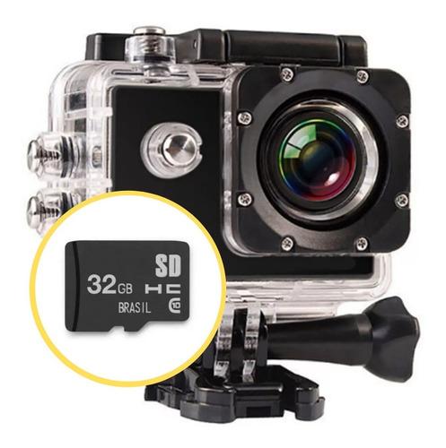 Câmera Filmadora Ação Capacete Mergulho Cartão Memória 32g