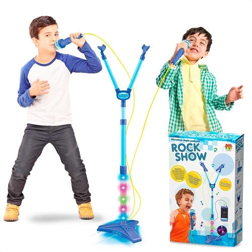 Microfone Infantil Duplo Rockshow Music Mp3 Luz Amplificador