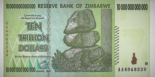 Grr-billete De Zimbabwe 10 Trillones De Dollars 2008  !!!!!!