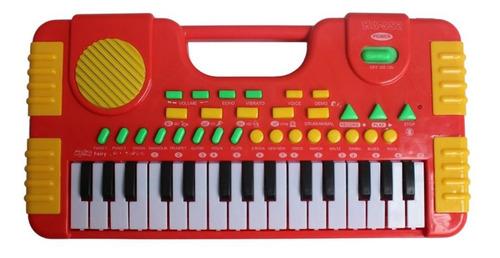 Brinquedo Teclado Musical Infantil Vermelho Inmetro