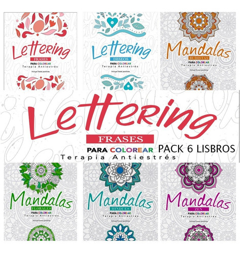 Libro Colorear Adultos Terapia Antiestrés Pack 6 Libros !