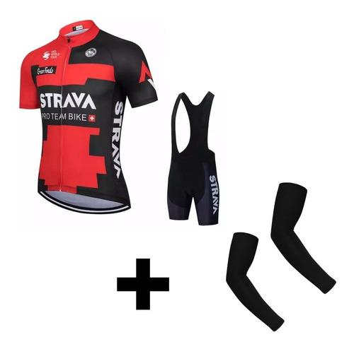 Conjunto Roupa Ciclismo Strava Bretelle E Camisa Ciclista