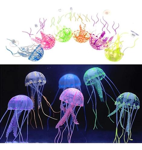 2 Decoração Aquário: Medusa Água Viva Enfeite Silicone