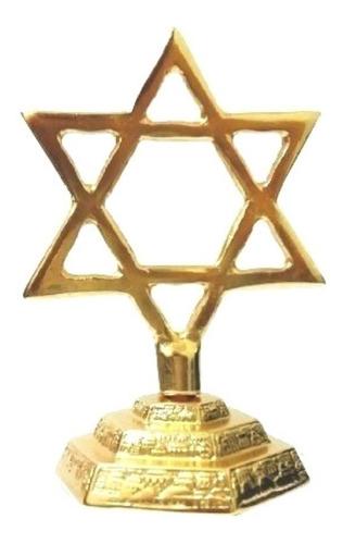 Estrela De Davi Para Mesa Banhada A Ouro 10cm
