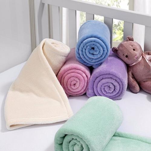 Kit Com 3 Mantinhas Pra Bebê Infantil Soft Inverno Criança