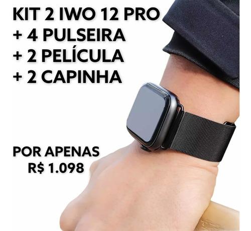 Kit Pro, 2 Iwo 12 Pro 44mm + 4 Pulseira + Película + Capinha