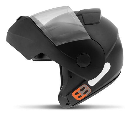 Capacete Moto Ebf Robocop Articulado E8 Solid Preto Fosco