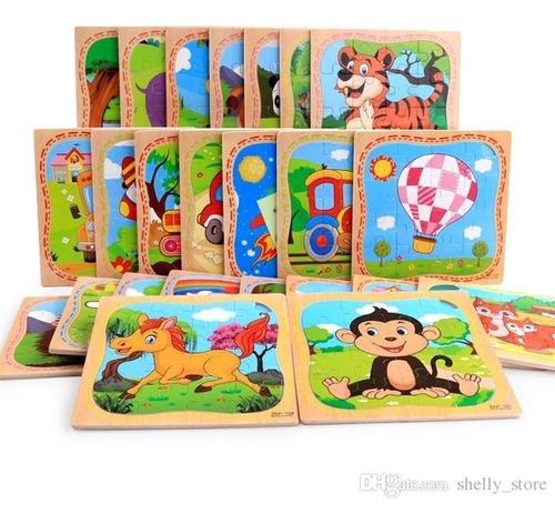 Rompecabezas Madera Para Niños. Pack 12 Puzzles
