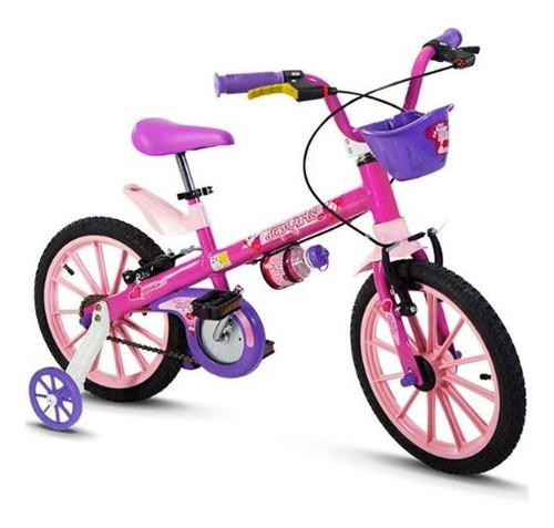Bicicleta  Feminina Infantil Nathor Top Girls Aro 16 Freios V-brakes Cor Rosa