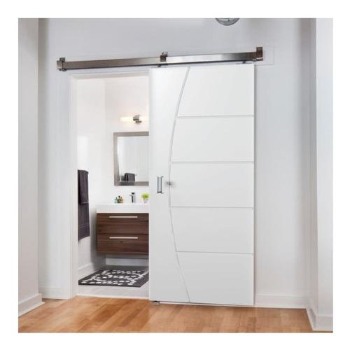 Porta De Correr Frisada C/ Fundo Primer Branco Kit Aluminio