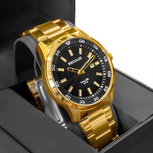 Relógio Seculus Masculino Analógico Dourado Long Life Barato