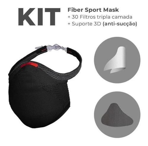 Máscara Fiber Knit Sport + 30 Filtro De Proteção + Suporte