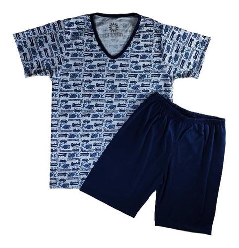 Pijama Infantil Grappin Tamanho 2 Ao 16 Masculino Curto Manga E Short Decote V Malha Pv
