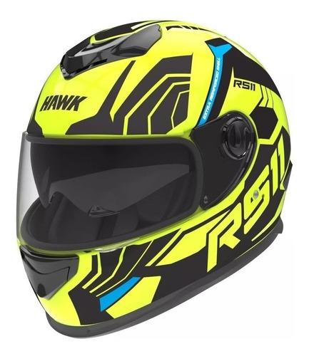 Casco Para Moto Integral Hawk Rs11 Revo Fluo Mate Talle Xl