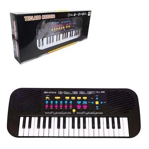 Teclado / Piano Musical Infantil Com Microfone  Preto Hs3755