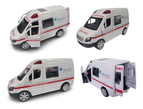 1 Miniatura Ambulância Abre Porta Ferro Fricção Coleção 13cm