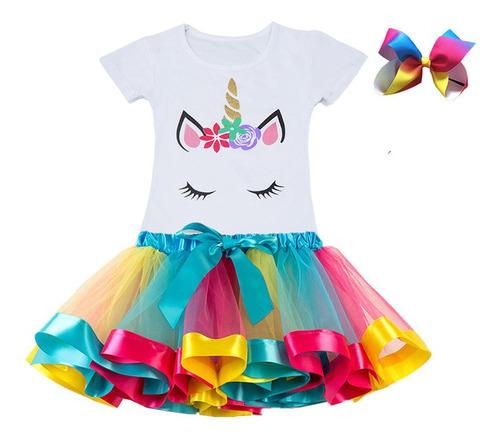 Linda Fantasia Infantil Unicornio Luxo Conjunto Unicornio Tam 2 Ao 10