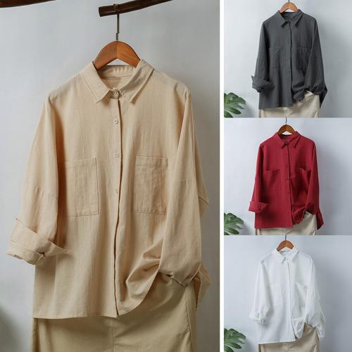 Mangas Blusa Vintage Camisa Gota Ombro Longo Mulheres