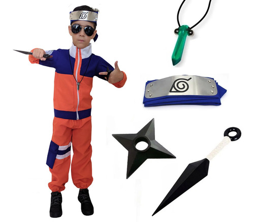 Kit Fantasia Naruto Uzumaki Cosplay Infantil Kunai Bandana