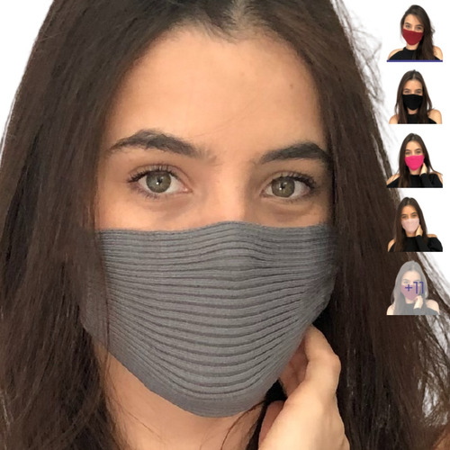 Máscara Tricô Tricot Croche Canelado Blogueira - Envio Hoje!