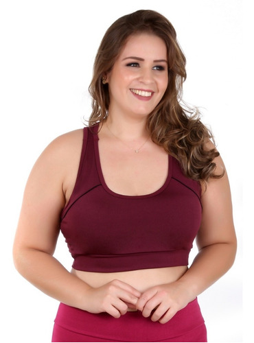 Top Fitness Academia Plus Size C/ Bojo Liso 8753