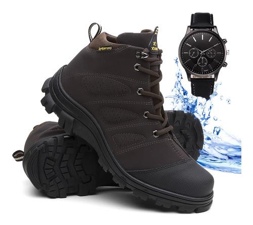 Bota Masculino Adventure Bota De Trabalho + Relógio Frete Gr