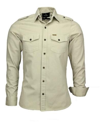 Camisa Social Masculina Paris Estilo Militar - Promoção