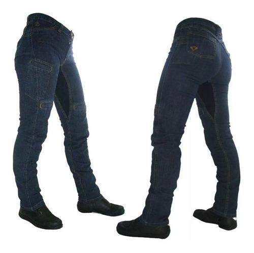 Calça Moto Jeans Com Proteção Hlx Feminina Penelope Confort