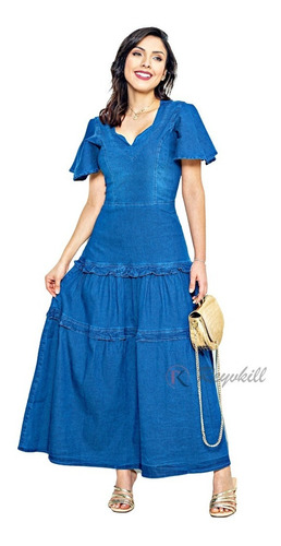 Vestido Feminino Jeans Moda Cristã Evangélica Longo Marta