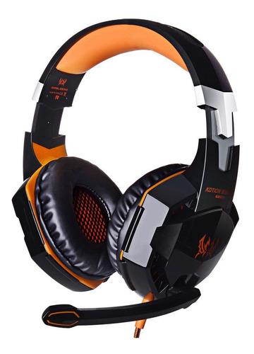 Auriculares Gamer Kotion G2000 Negro Y Naranja Con Luz Led