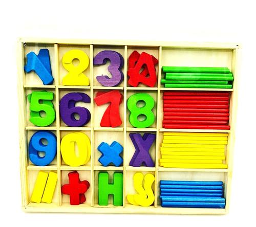 Juego Matematica Números Madera Palitos Suma Resta Niños