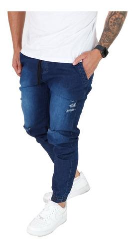 Calça Jeans Masculina Jogger Com Punho Preta Azul Camuflada