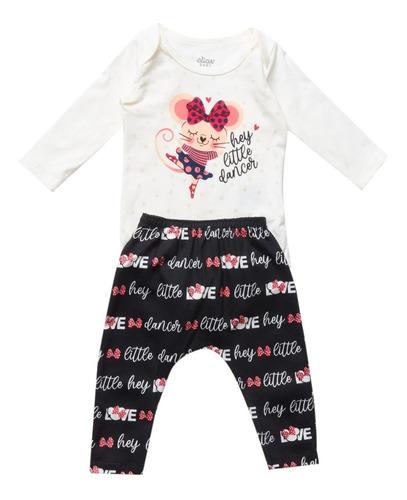 Kit Baby Estampado Com 2 Body E 1 Calça Ratinha Love Elian
