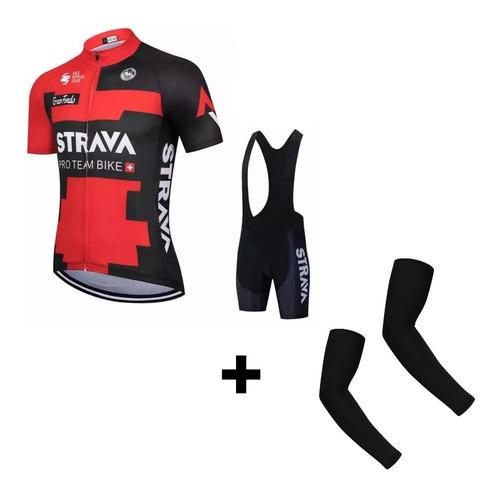 Conjunto Strava Ciclism Bretelle Gel + Camisa Abertura Total