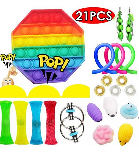 21 Peças Fidget Push Pop It Brinquedos Sensoriais Caixa Mist