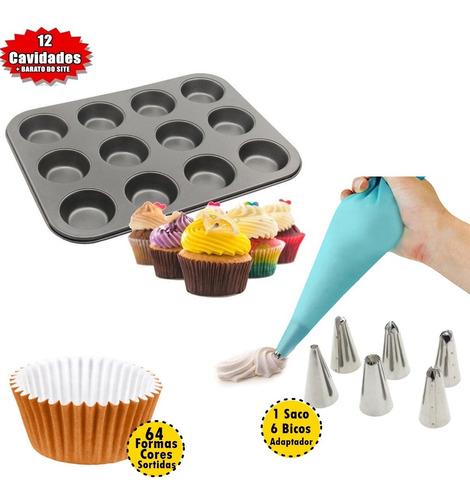 Kit Confeitaria Cupcake+forma Antiaderente+acessórios+ Bicos