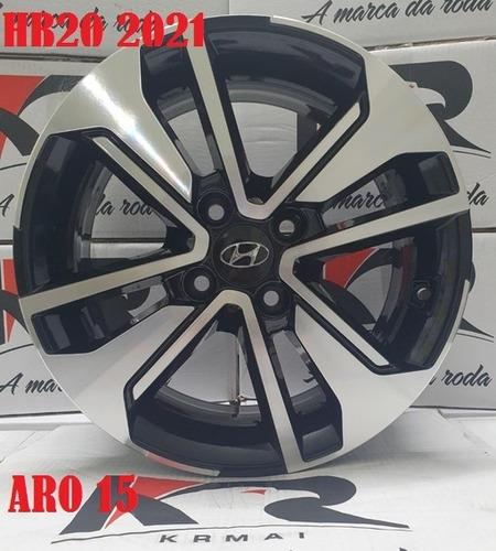 Jogo De Rodas Aro 15 Hyundai Hb20 Sport 2021 Krmai S28 +bico