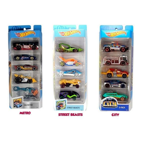 Pack X 5 Autos De Metal Hot Wheels Original Mattel