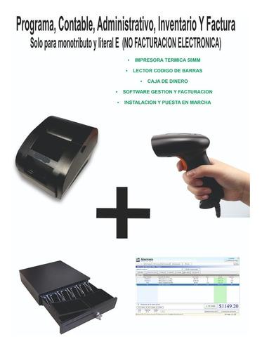 Programa Facturación, Lector Código, Caja Dinero, Impresora