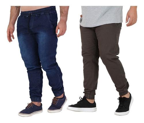 Kit 2 Calça Jeans Sarja Jogger Masculina Plus 50 52 54 56